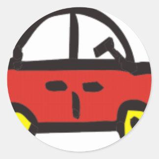 3 cars round sticker