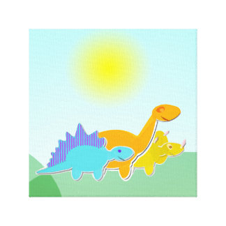 3 Cartoon Dinosaurs Wrapped Canvas