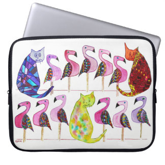3 Cats and 11 Flamingos Laptop Sleeve