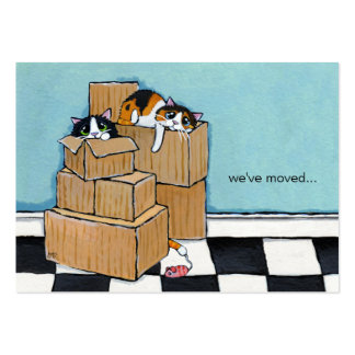 3 Cats & Boxes   We've Moved Announcement Business Card Template