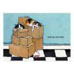 3 Cats & Boxes | We've Moved Announcement Large Business Card