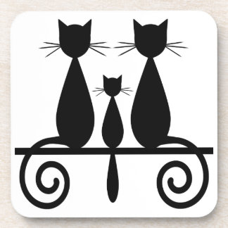 3 Cats On A Fence Drink Coaster
