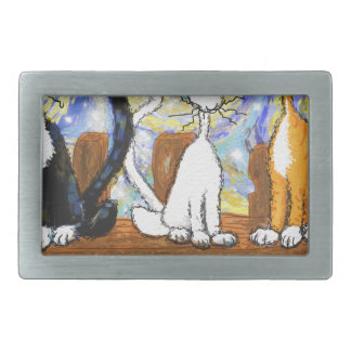 3 cats on  a fence.jpg rectangular belt buckle