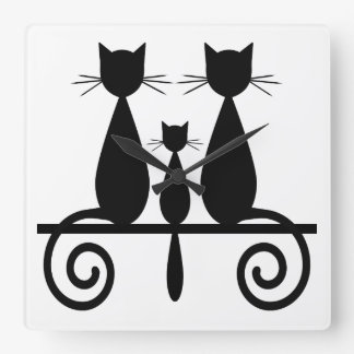 3 Cats On A Fence Square Wall Clock