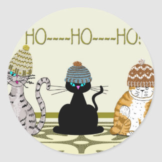 3 Cats With Hats Christmas Classic Round Sticker