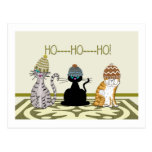 3 Cats With Hats Christmas Post Card