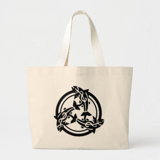 3 Celtic Tribal Fish Tattoo Large Tote Bag