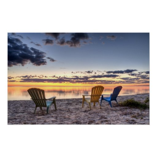 3 Chairs Sunrise Poster