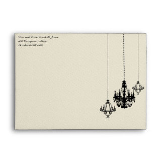 3 Chandelier Damask Wedding Envelopes