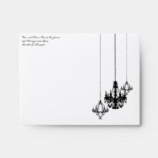 3 Chandelier Damask Wedding Square Envelopes