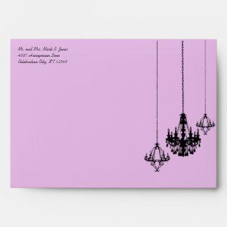 3 Chandelier Lavender Damask Wedding Envelopes
