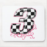 3 checkered flag number pink mousepad
