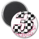 3 checkered flag number pink refrigerator magnet