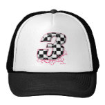 3 checkered flag number pink trucker hats