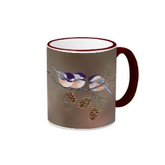 3 CHICKADEES & CONES by SHARON SHARPE Coffee Mug