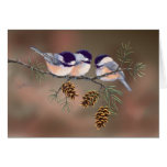 3 CHICKADEES & PINE CONES by SHARON SHARPE Card