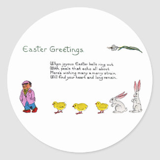3 Chicks 2 Bunnies 1 Funny Fellow Easter Classic Round Sticker