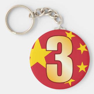 3 CHINA Gold Keychain