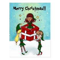 3 Christmas elf Christmas Postcard