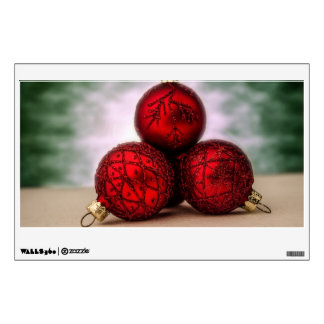 3 Christmas red baubles Wall Decals