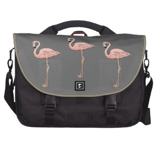 3 Classic Pink Flamingos Birds on Gray Background Computer Bag