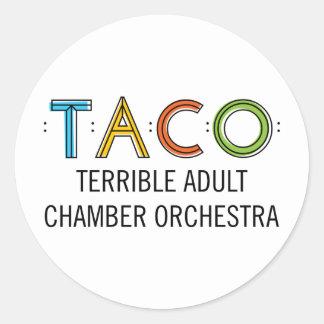 "3"" Classic Round TACO Stickers (6), Glossy"
