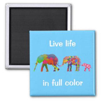 3 Colorful Elephants Walking - Pop Art 2 Inch Square Magnet
