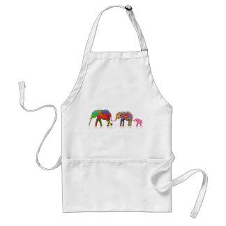 3 Colorful Elephants Walking - Pop Art Adult Apron