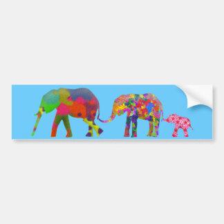 3 Colorful Elephants Walking - Pop Art Bumper Sticker