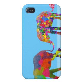3 Colorful Elephants Walking - Pop Art iPhone 4/4S Cases
