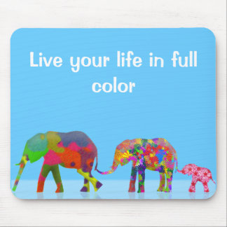 3 Colorful Elephants Walking - Pop Art Mouse Pad