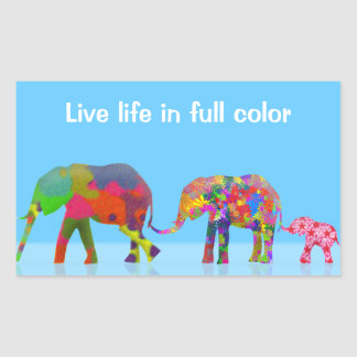 3 Colorful Elephants Walking - Pop Art Rectangular Sticker