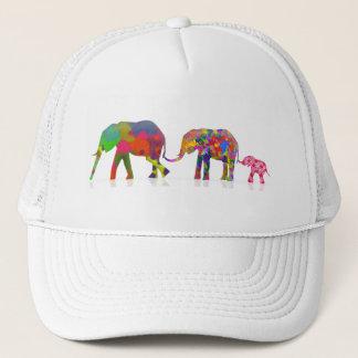 3 Colorful Elephants Walking - Pop Art Trucker Hat