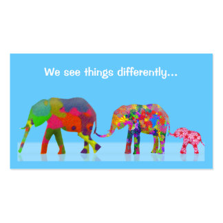 3 Colorful Elephants Walking Together Double-Sided Standard Business Cards (Pack Of 100)