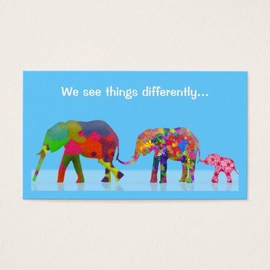 3 Colorful Elephants Walking Together Business Card