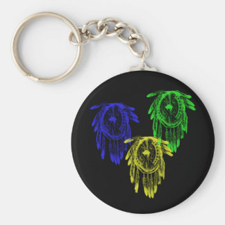 3 Colorful Native American Tribal War Shields Keychain