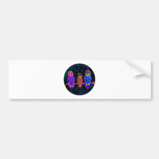 3 Colorful Owls at Night in Front of the Moon Bumper Sticker