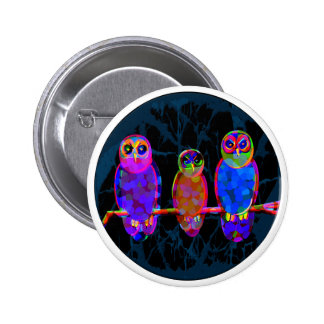 3 Colorful Owls at Night in Front of the Moon Button