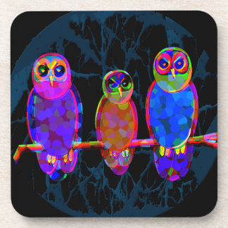 3 Colorful Owls at Night in Front of the Moon Coaster