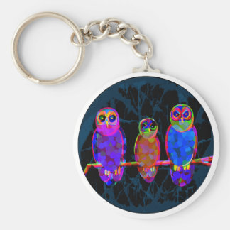 3 Colorful Owls at Night in Front of the Moon Key Chain
