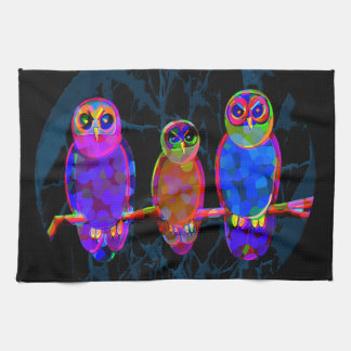 3 Colorful Owls at Night in Front of the Moon Kitchen Towel