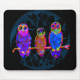 3 Colorful Owls at Night in Front of the Moon Mouse Pad