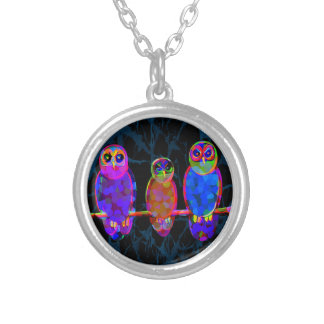 3 Colorful Owls at Night in Front of the Moon Round Pendant Necklace