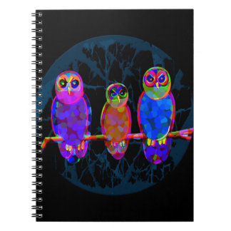 3 Colorful Owls at Night in Front of the Moon Notebook