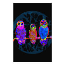 3 Colorful Owls at Night in Front of the Moon Stationery