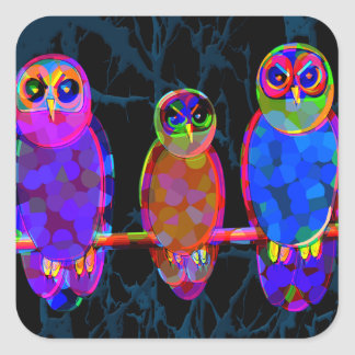 3 Colorful Owls at Night in Front of the Moon Square Stickers