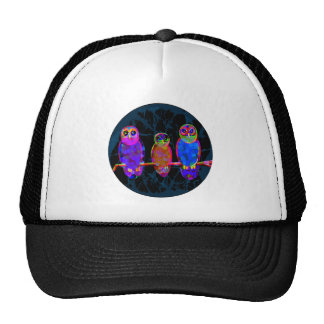 3 Colorful Owls at Night in Front of the Moon Trucker Hat