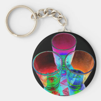 3 Coloured Cocktail Shot Glasses - Style 1 Key Chain