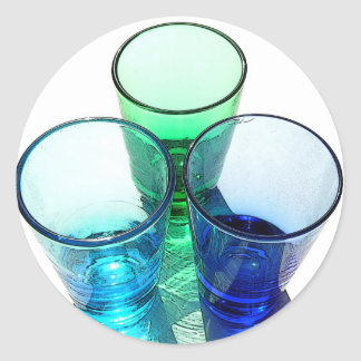3 Coloured Cocktail Shot Glasses - Style 3 Classic Round Sticker