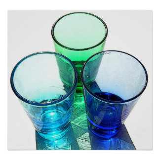 3 Coloured Cocktail Shot Glasses - Style 3 Poster